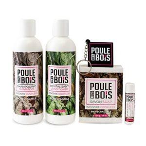 Ens. savon + shampooing + revitalisant + baume + porte clé
